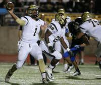 Plano East quarterback Miklo Smalls (1) throw the ball in the third quarter during a high school football game between Plano East and Hebron at Hawk Stadium in Carrollton, Texas Thursday October 29, 2015. Plano East beat Hebron 21-14. (Andy Jacobsohn/The Dallas Morning News)(The Dallas Morning News)