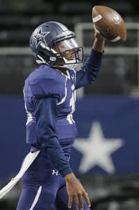 TXHSFB Frisco Lone Star quarterback Jason Shelley (18) celebrates scoring a touchdown on a trick play during the first half of a high school football playoff game against Marshall at AT&T Stadium in Arlington, Saturday, November 28, 2015. (Brandon Wade/Special Contributor)