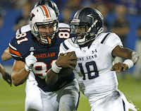 Wakeland linebacker Tanner Euting (81) chases down Lone Star quarterback Jason Shelley (18) during the second quarter as Frisco Wakeland High School hosted Frisco Lone Star High School at Toyota Stadium in Frisco on Friday night, September 11, 2015.  (Stewart F. House/Special Contributor) ORG XMIT: 20026189A
