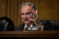 Sen. Tim Kaine (D-VA) questions witnesses during a Senate Foreign Relations Committee hearing concerning cartels and the U.S. heroin epidemic, on Capitol Hill, May 26. (Photo by Drew Angerer/Getty Images)(<p>(Photo by Drew Angerer/Getty Images)</p>)