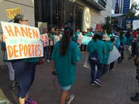 """<p><span style=""""font-size: 1em; line-height: 1.364; background-color: transparent;"""">Earlier this June in Fort Worth, members of the Texas Organizing Project protested outside the Omni Hotel where an award from the legal bar was given to Judge Andrew Hanen of the U.S. District Court for the Southern District, Brownsville District.</span></p>((Ana Azpurua/Staff))"""