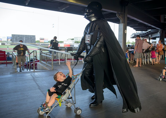 photos chewbacca mom throws out first pitch darth vader pushes a