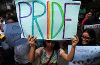 Indian members of the LGBT (Lesbian, Gay, Bisexual, Transgender) community take part in a pride parade, calling for freedom from discrimination on the grounds of sexual orientation, in Chennai on June 26.(Arun Sankararun/Getty Images)