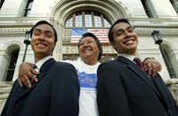 Rosie Castro with her twin sons,  Joaquin (left) and Julian in front of San Antonio City Hall in 2002(File Photo/Erich Schlegel)