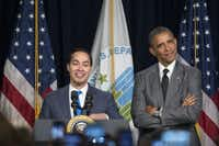 Former President Barack Obama and HUD Secretary Julian Castro spoke at the Department of Housing and Urban Development. (Andrew Harrer/Bloomberg News)