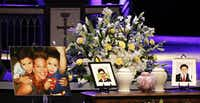 <p></p><p>Urns containing the remains of Stacy Fawcett and her sons, McCann Utu Jr. and Josiah Utu, were displayed during a memorial service in April at Prestonwood Baptist Church.  </p><p></p>(G.J. McCarthy/The Dallas Morning News)
