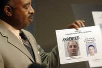 Anthony Robinson, then chief investigator of the Dallas County district attorney's office, holds a sheet containing the photos of two of the top 20 probation absconders, one who was arrested, during a press conference explaining the newly formulated, Absconder Unit Felony Section in 2007 at the Dallas County Sheriff's Department. ((Ben Torres/Al Dia))