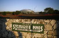 The land once occupied by the Stonegate Pines mobile home park was cleared for future use. This 2008 photo was taken while AT&T Stadium was under construction.(File Photo/Tom Fox)