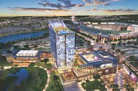 An artist's rendering of Texas Live! before plans were announced for a new Texas Rangers stadium(The Cordish Companies)