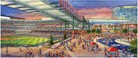 An artist's rendering of the proposed Texas Rangers stadium(Populous)