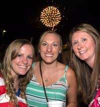 AND IN PHOTO BOMBS ... Jeanette Ackeer, Nicole Acker and Megan O'Dell had a great view of the fireworks at Kaboom Town in Addison from the parking lot of On the Border, on July 3, 2013. (Jerry McClure/Special contributor)(Jerry McClure/Special Contributor)