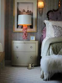 Bedrooms are the perfect place to add a layer of luxury, says Elaine Williamson-Romero, who followed her own advice and introduced rose quartz lamps to this design.(Elaine Romero Designs)