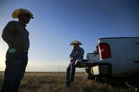 West Texas A&M Agriculture and Natural Sciences Acting Dean Dean Hawkins (left) and ranch manager Landon Canterbury watch as the sun sets on the West Texas A&M University's Nance Ranch where some of the 13 Alpha X Gamma calves were grazing, Wednesday, June 22, 2016. The offspring are from Alpha, a cloned four year old bull and Gamma, a cloned heifer. (Tom Fox/The Dallas Morning News)(The Dallas Morning News)