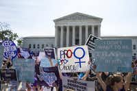 Demonstrators rallied outside the U.S. Supreme Court before it struck down a law on abortion clinic restrictions last month.(Al Drago/The New York Times)