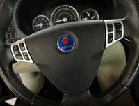 A Saab 9-3 steering wheel with Takata airbag is pictured,Tuesday, July 5, 2016. The car owned by Kellie O'Lear is one of the millions of vehicles caught up in the Takata airbag recall. (Tom Fox/The Dallas Morning News)(The Dallas Morning News)