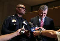 Dallas Police Chief David Brown and Mayor Mike Rawlings address the media at City following Thursday's shooting of 11 police officers in downtown Dallas, July 7, 2016. Four officers are confirmed dead as of 11:45pm Thursday. (Maria R. Olivas/Special Contributor)(Maria R.Olivas/Special Contributor)