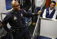 Chief Brown, during a Chief on the Beat event on a DART train in March 2015. (Jim Tuttle/ Dallas Morning News)
