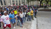 Protesters marched from Baton Rouge City Hall to the Louisiana Capitol on Saturday.(Mark Wallheiser/Getty Images)