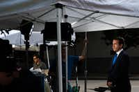 NBC correspondent Gabe Gutierrez does a live broadcast in Dallas for NBC Nightly News on July 9.(Christian Vasquez/Special Contributor)