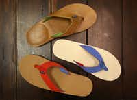 Hari Mari offers a variety of flip-flop styles, including from top to bottom: Lakes, Parks and Scouts. (Brad Loper/The Dallas Morning News)