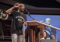 <p>Dr. Frederick Haynes III, senior pastor of Friendship-West Baptist Church, speaks during a conversation about race and policing in Dallas at the church on Sunday, July 10, 2016. (Rex C. Curry/The Dallas Morning News via AP)</p><p></p>