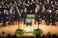 One more powerful photo among many from Tuesday's memorial, which also featured Vice President Joe Biden and former President George W. Bush.(Smiley N. Pool/The Dallas Morning News)