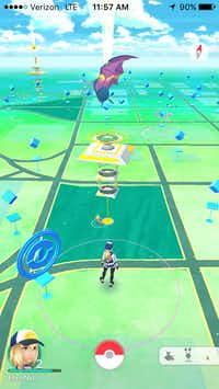 "A screenshot of a map showing downtown Dallas within the augmented-reality mobile game ""Pokemon Go"" on Wednesday, July 13, 2016.(Ellen Meyers/The Dallas Morning News)"