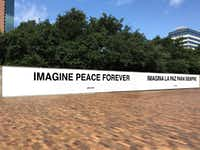 A rendering of new artwork by Yoko Ono. Ono updated her 2001 'Imagine Peace' text-based work to be 'Imagine Peace Forever' and offered it the Dallas Museum of Art following the police ambush shootings in July 2016. The gift was in response to an ask by DMA senior curator of contemporary art Gavin Delahunty.(Dallas Museum of Art)