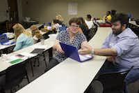 Beverly Lewicki receives help from Fagun Vasavada during a week-long UTeach programming and coding camp at the University of Texas at Dallas in Richardson.(Allison Slomowitz/Special Contributor)