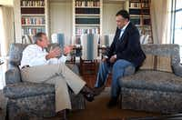President George W. Bush met with then-Saudi Arabian Ambassador Prince Bandar bin Sultan at the Bush ranch in Crawford on Aug. 27, 2002.(File Photo/Agence France-Presse)