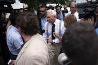 "Trump friend and adviser Roger Stone walks off stage after speaking at rally in support of Donald Trump near Quicken Loans Arena.(<p><span style=""font-size: 1em; line-height: 1.364; background-color: transparent;"">Hilary Swift/The New York Times</span><br></p><p></p>)"