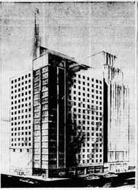 Corrigan Tower shown in an original 1950 architectural rendering.(DMN archives)
