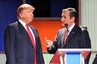 Donald Trump and Sen. Ted Cruz talked during a commercial break in the sixth GOP presidential debate Jan. 14 in North Charleston, S.C.Getty Images/Scott Olson