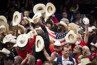 Texas delegates celebrate after New York cast the votes to put Donald Trump over the top as the party's nominee.(Smiley N. Pool/The Dallas Morning News)