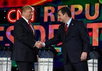 LAS VEGAS, NV - DECEMBER 15:  Republican presidential candidates Donald Trump (L) and Sen. Ted Cruz (R-TX) shake hands as they are introduced during the CNN presidential debate at The Venetian Las Vegas on December 15, 2015 in Las Vegas, Nevada. Thirteen Republican presidential candidates are participating in the fifth set of Republican presidential debates.  (Photo by Ethan Miller/Getty Images)Getty Images