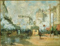 "Claude Monet's <i>Outside the Gare Saint-Lazare: View of the Batignolles Tunnels in Sunshine, 1877</i> was part of the show, ""Manet, Monet and the Gare Saint-Lazare,"" which opened in 1998 at the National Gallery of Art in Washington. (AP Photo/National Gallery of Art)(AP)"