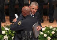 Dallas Police Chief David Brown embraced President Barack Obama during an interfaith memorial service, honoring five slain police officers, at the Meyerson Symphony Center on July 12.Tom Pennington/Getty Images