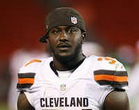 In this Aug. 13, 2015, file photo, Cleveland Browns running back Isaiah Crowell (34) is shown during an NFL preseason football game against the Washington Redskins in Cleveland.(AP Photo/Ron Schwane, File)(AP)