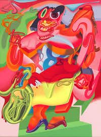 Peter Saul ( b. 1934).  de Kooning's <i>Woman with Bicycle, 1976</i>. Acrylic on linen. Whitney Museum of American Art, New York; purchase, with funds from the Sara Roby Foundation.   Peter Saul 1976 Saul, Peter(Robert Gerhardt and Denis Y. Sus/Peter Saul)