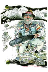 """""""Fishing for Whales and Telling Big Tales"""" was a Jack Unruh self-portrait that appeared in Aspen Sojourner magazine in 2004.(Jack Unruh)"""