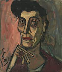 Alice Neel, <i>Elsie Rubin, c. 1958</i>. Oil on canvas board. Whitney Museum of American Art, New York; Gift of Elaine Graham Weitzen.   The Estate of Alice Neel. This piece, and the artwork pictured above, is part  of a new show at the Whitney curated by Scott Rothkopf. (Robert Gerhardt and Denis Y. Sus/The Estate of Alice Neel)