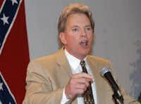 Former Ku Klux Klan leader David Duke speaks to supporters in Kenner, La., in this 2004 photo. Duke said he plans to run for U.S. Senate in Louisiana.&nbsp; <br>(Burt Steel/The Associated Press<br>)