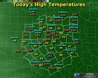 Friday's high temperatures.(National Weather Service)