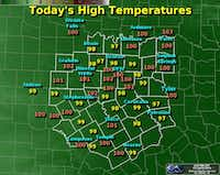 Friday's high temperatures. (National Weather Service)