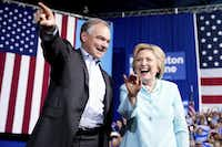 Sen. Tim Kaine, Hillary Clinton's pick for vice president, addressed a rally in Florida on Saturday, speaking to the crowd in Spanish and detailing his life in public service.(Andrew Harnik/The Associated Press)