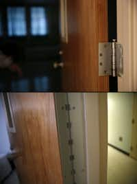 "<p><span style=""font-size: 1em; line-height: 1.364; background-color: transparent;"">Top: A door hinge at the Terrell State Hospital, which poses a ligature risk. Bottom: Updated door hinges at the hospital are designed to not pose a ligature risk. </span></p>(Rose Baca/<p><span style=""font-size: 1em; line-height: 1.364; background-color: transparent;"">Staff Photographer</span><br></p><p></p>)"