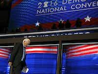 Bernie Sanders walked off the stage after his speech Monday night.(G.J. McCarthy/Staff Photographer<div><br></div><div><br></div>)