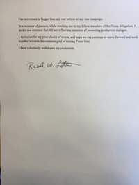 Denton delegate Russell Lytle's letter of apology.(Texas Democratic Party/Holly Rusak)