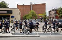 Philadelphia Police Department officers patrolled at the march. (G.J. McCarthy/Staff Photographer)