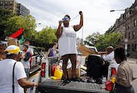 Protest organizers directed the crowd during a Black Lives Matter march Tuesday in Philadelphia. The rally was one of several events planned to protest the Democratic National Convention at Wells Fargo Center.(G.J. McCarthy/Staff Photographer)